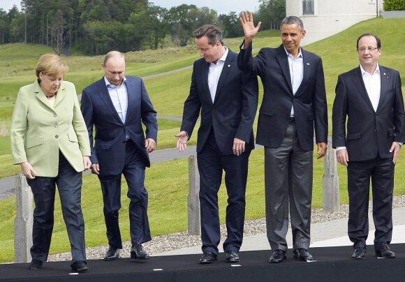 Angela Merkel, Vladimiras Putinas, Davidas Cameronas, Barackas Obama, Francois Hollande'as