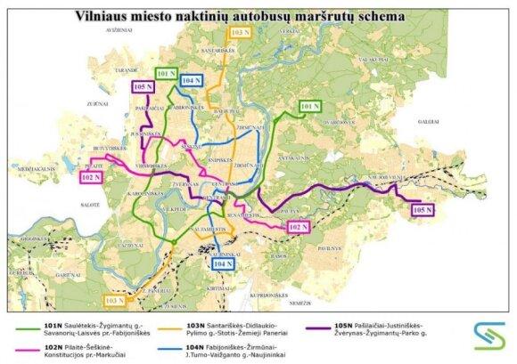 Naktiniai autobusai maršrutai
