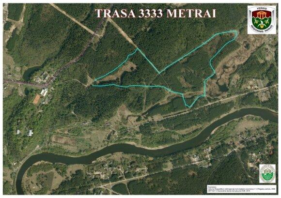 """Naujosios trasos """"3333 metrai"""" schema (Verkių regioninio parko pieš.)"""