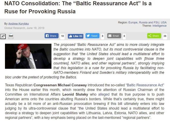 """Antraštė: """"NATO susivienijimas: """"Baltijos šalių užtikrinimo aktas"""" yra vylius provokuoti Rusiją"""""""