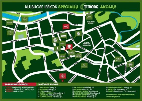 GREEN NIGHT klubų žemėlapis