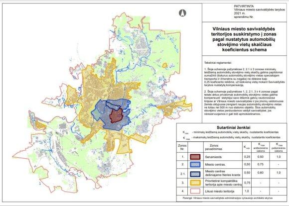 Parkavimo zonų Vilniuje schema