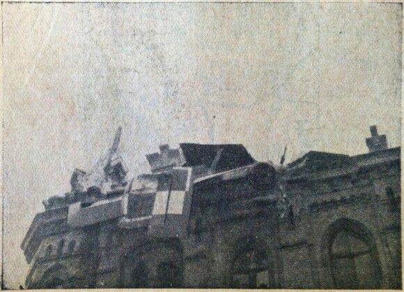 C. Kiernowicziaus ir J. Paprzyckio pilotuoto lėktuvo fragmentas įsirėžęs į pastatą šiandienėje A. Jakšto g. 1936 m. birželio 8 d.