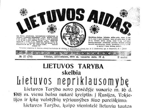 """Lietuvos nepriklausomybės akto tekstas 1918 vasario 19 d. """"Lietuvos aide"""""""