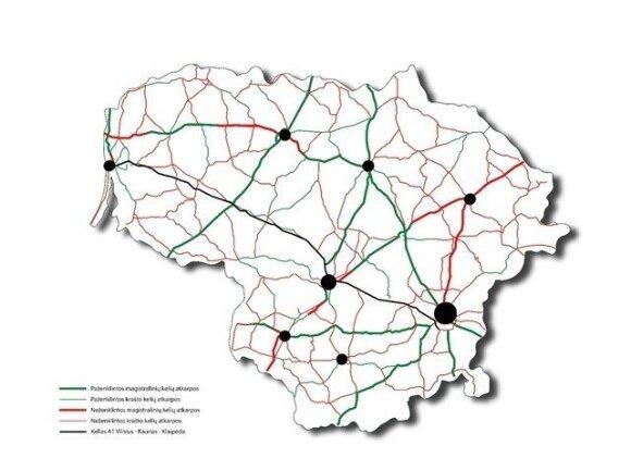 Keliai (pažymėta žaliai), kuriuose horizontalios ženklinimo linijos jau atnaujintos