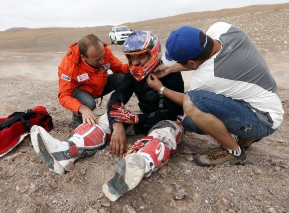Jeremiaso Israelio Esquerre pasirodymą Dakaro ralyje nutraukė avarija