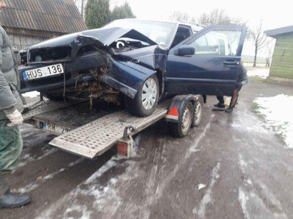 """""""Volvo"""" avarija. Žilvino Šakio nuotr."""
