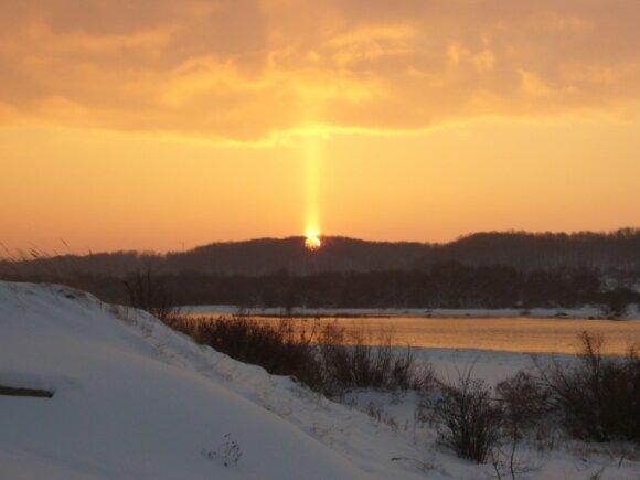 Saulės stulpas, DELFI skaitytojos Giedrės nuotr.