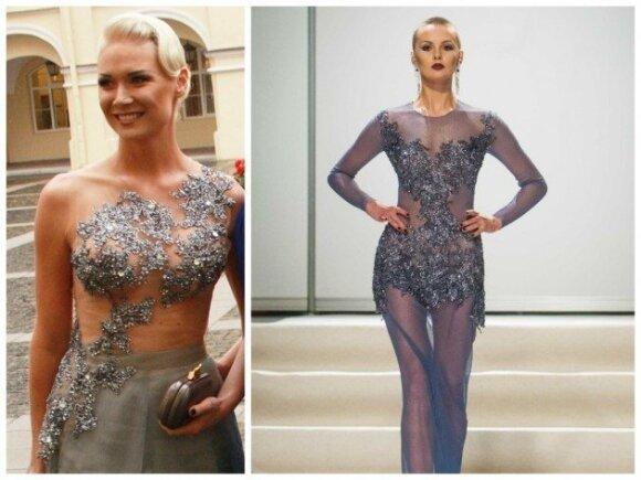 Natalijos Bunkės suknelė ir L. Salasevičiaus modelis