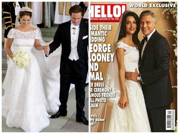 """Princesės Madeleine ir Amal Alamuddin su nuotakos suknelės (""""Hello!"""" žurnalo nuotr.)"""