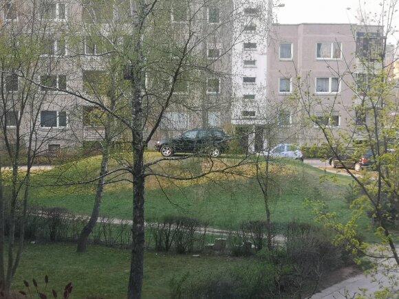 Automobilis žalioje zonoje prie S. Stanevičiaus g. 64 namo Vilniuje