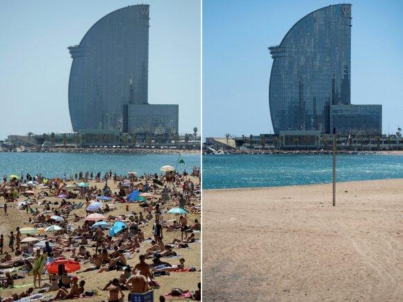 Barselonos paplūdimys prieš ir per karantiną