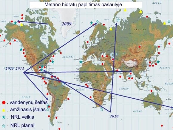 Metano hidratų paplitimas. PASTABA: NRL - JAV jūrų laivyno tyrimų laboratorija / jhuapl.edu schema