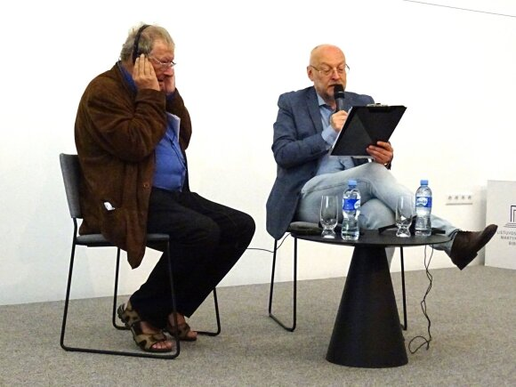 Адам Михник и Римвидас Валатка в Литовской национальной библиотеке им.М.Мажвидаса