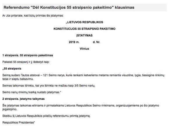 Referendumo klausimai (VRK informacija)