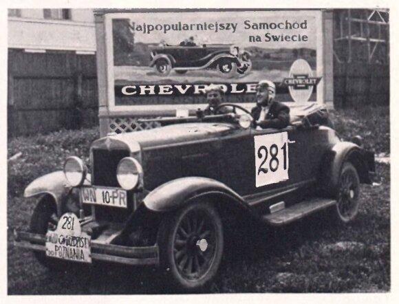 """Jan Sobecki atvykęs į Poznanę. Žurnalas """"Nowiny General Motors"""" 1929 m. Nr.8."""