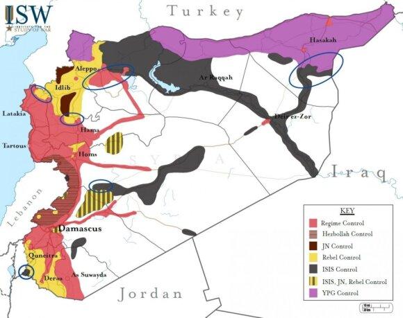 Įtakos zonos Sirijoje, 2015 m. gruodžio 23 d. duomenimis (ISW nuotr.)