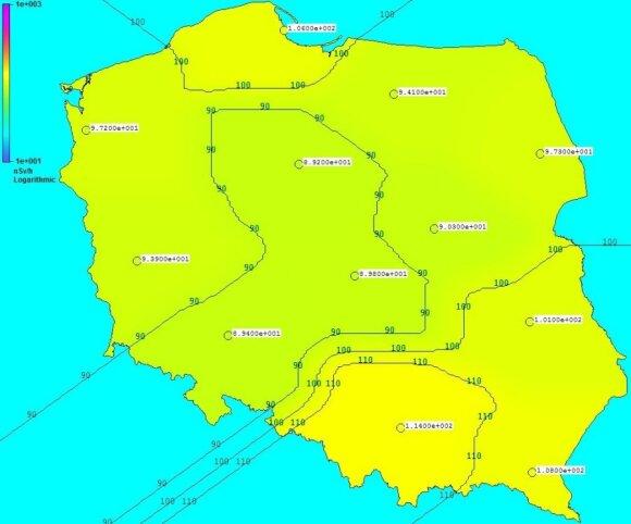 Mapa rozkładu mocy dawki promieniowania gamma w Polsce. Źródło: Państwowa Agencja Atomistyki