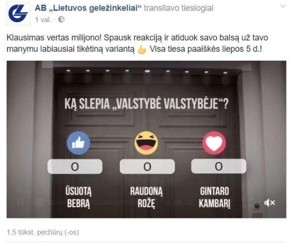"""""""Lietuvos geležinkelių"""" įrašas"""