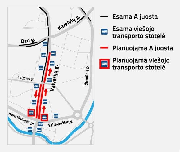 """Vilnius suplanavo dar 11 """"A juostų"""": paskelbė, kuriose gatvėse jos atsiras"""