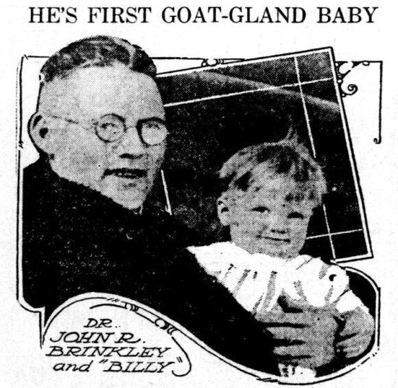 Johnas Richardas Brinkley su pirmuoju po procedūros gimusiu kūdikiu