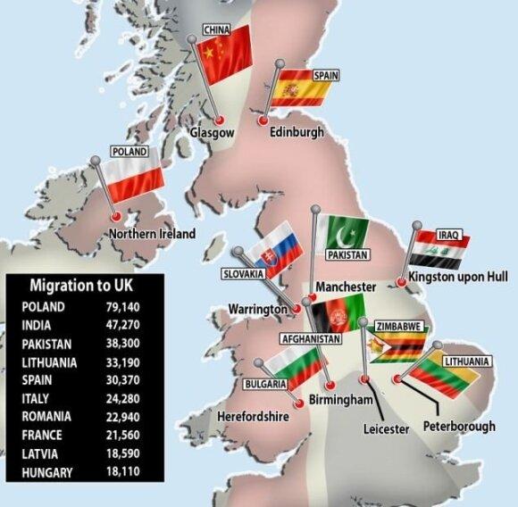 Didžiosios Britanijos imigrantų žemėlapis, dailymail.co.uk
