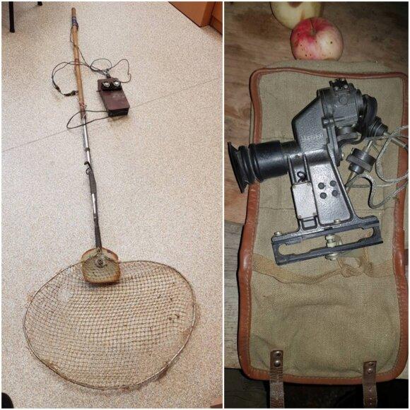 Sodyboje rasti elektros žūklės aparatas ir optinis taikiklis