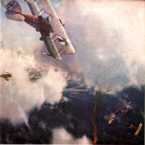 Oro mūšis. Michaelio Dymerio (1867–1939) piešinys