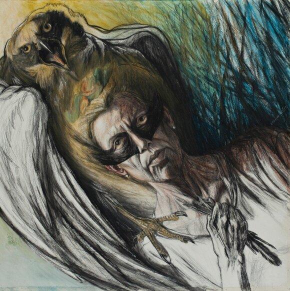 """Aliutė Mečys. """"Autoportretas su paukščio kauke"""" (2001)"""