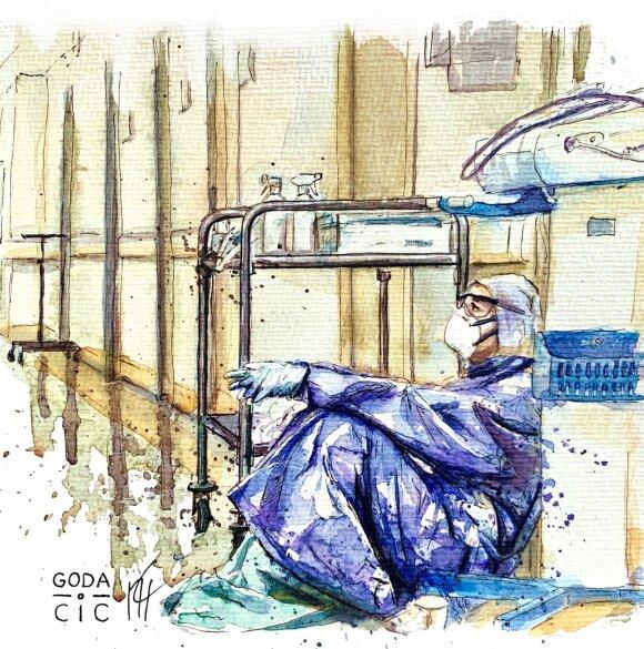 Godos Čičinskienės piešinys . COVID-19