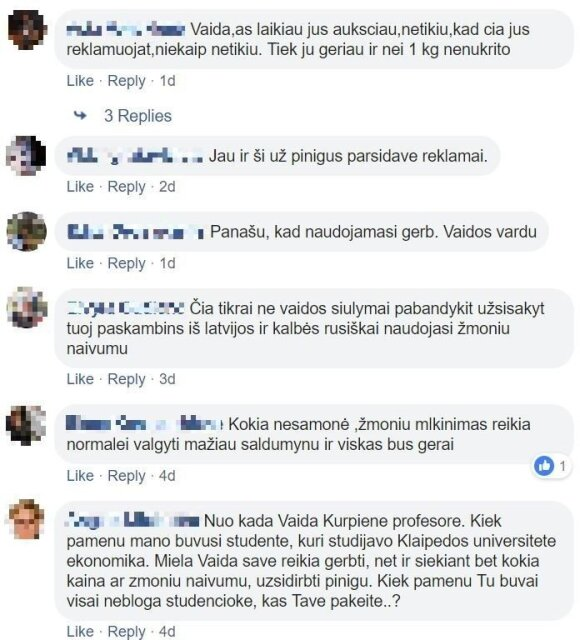 Facebook vartotojų komentarai po melagingu reklaminiu straipsniu