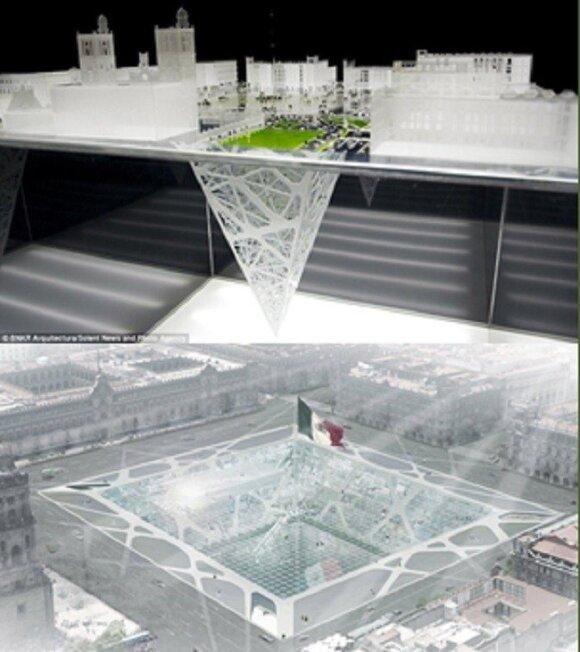 Meksiko mieste planuojamas biurų pastatas-stiklinė piramidė po žeme/ G. Klimavičiaus pristatymo skaidrės