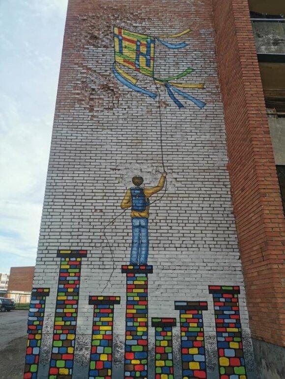 Marijampolę papuošė dar vienas piešinys ant sienos