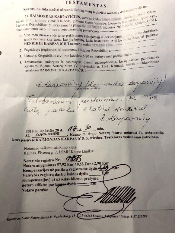 2018 m. pasirašytas testamentas