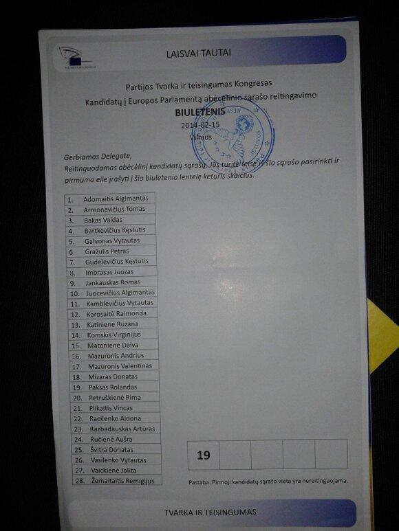 """""""Tvarkiečių"""" tarybos balsavimo biuletenis (A. Mazuronio nuotr.)"""