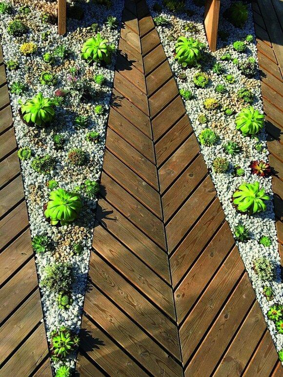 """Kūrybiškas sprendimas: terasa """"eglute"""""""