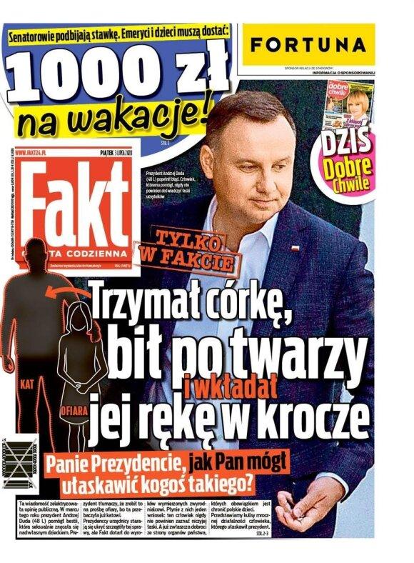 """Axel Springer leidėjo bulvarinio leidinio """"Fakt"""" viršelis, kur skelbiama esą A. Duda suteikė malonę pedofilui, nors Prezidentas tenkino nuteistojo artimųjų prašymą"""