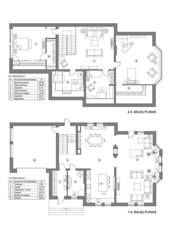 240 kv.m. namas Kaune, kuriame vyrauja prabangus klasikinis stilius