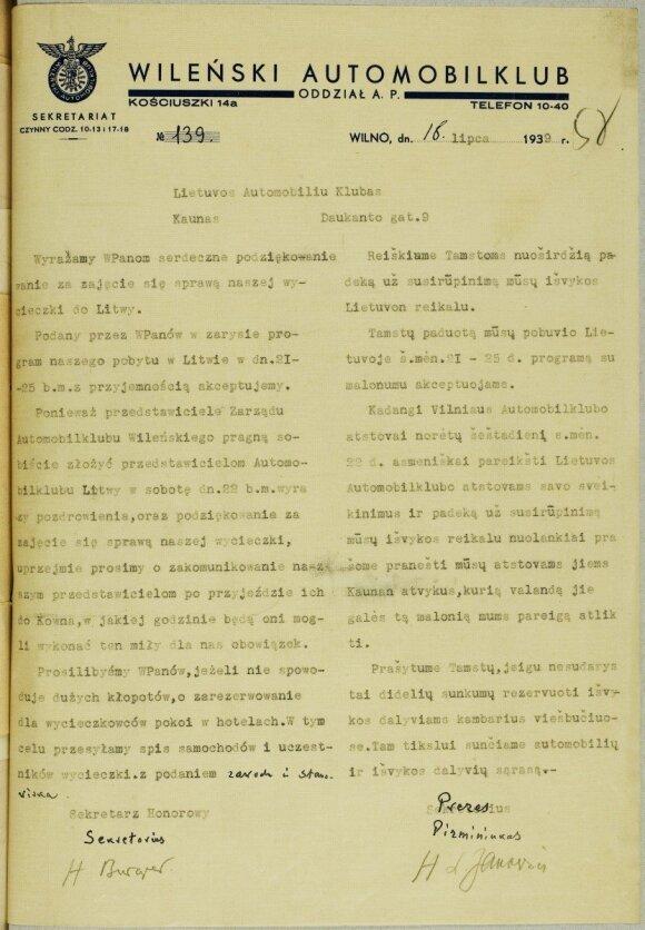 """1939 m. liepos 18 d. """"WA"""" raštas LAK dėl apsilankymo Lietuvoje ir dėl viešbučių rezervacijos. LCVA"""