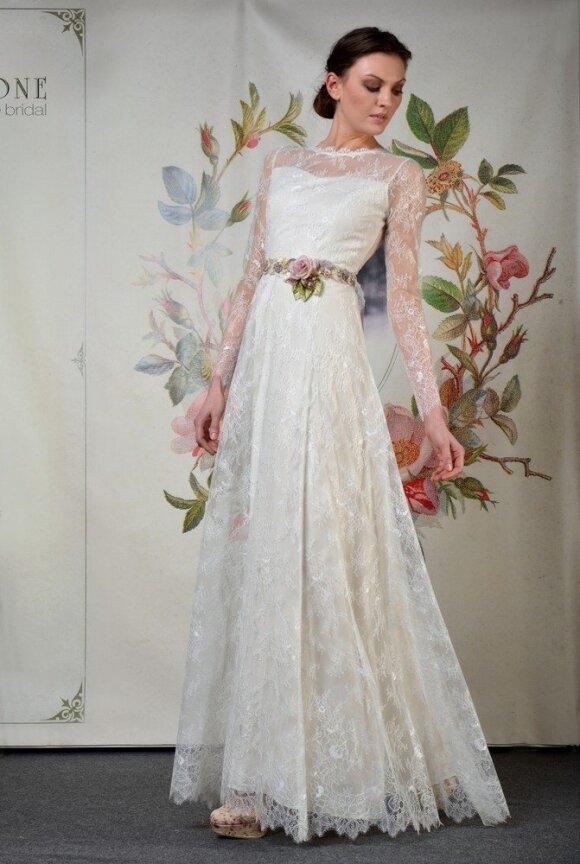 Vestuvinės suknelės ilgomis rankovėmis