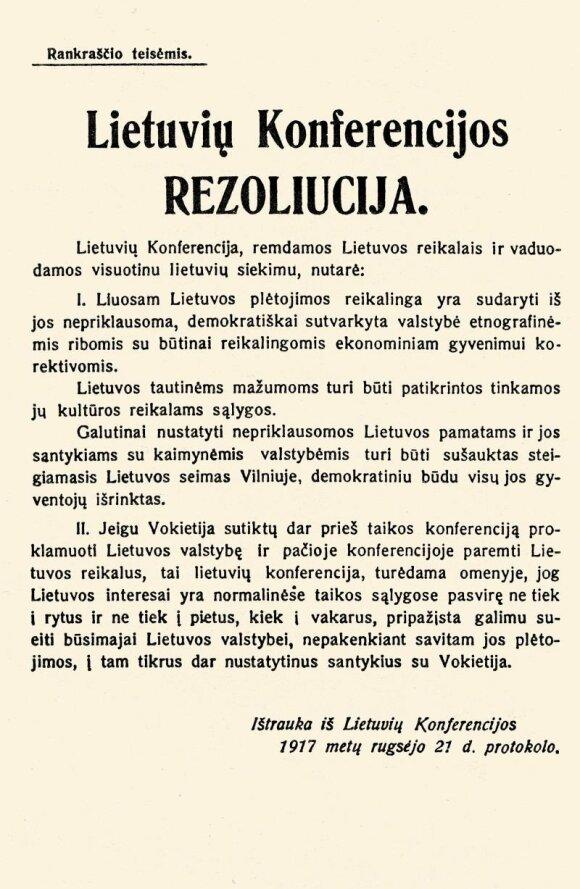 """Lietuvių konferencijos rezoliucija, atspausdinta lapelyje """"Rankraščio teisėmis"""""""