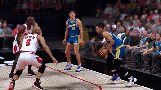 Šarūno Marčiulionio ir Stepheno Curry tandemas (NBA 2K kadras)