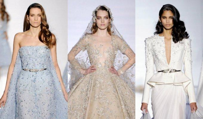 Vestuvinės suknelės, pristatytos aukštosios mados savaitėje FOTO