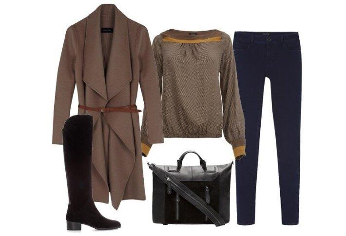 """Megztinis ir džinsai """"Massimo Dutti"""", palaidinė """"Kocca"""" (""""Aprangos galerija""""), rankinė """"Stradivarius"""", batai """"Zara""""."""