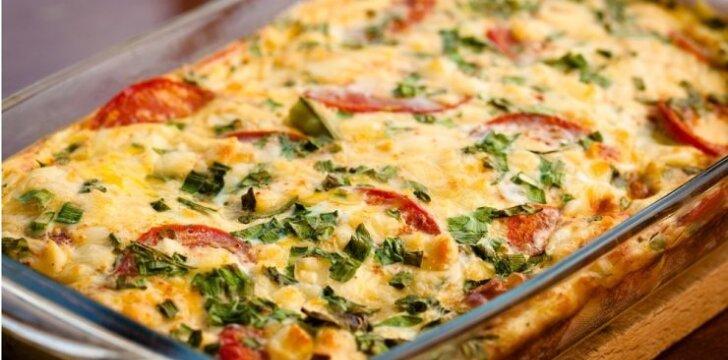 """Bulvių, cukinijų ir pomidorų užkepėlė <span style=""""color: #ff0000;""""><em><sup>kepa 30 min.</sup></em></span>"""