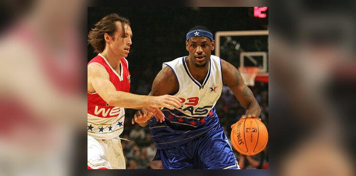 """Steve'as Nashas """"Visų žvaigždžių 2006"""" varžybose ginasi prieš LeBroną Jamesą"""