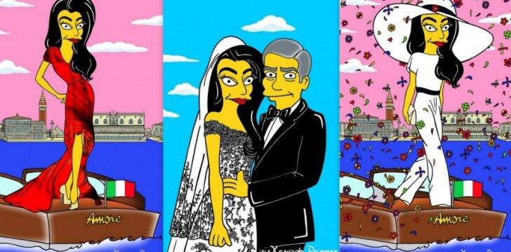 """Menininkas AleXsandro Palombo perkėlė aktoriaus George'o Clooney nuotaką Amal Alamuddin į kultinių """"Simpsonų"""" pasaulį."""