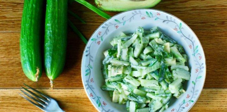Pasakiškos agurkų ir avokadų salotos
