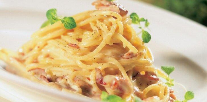 Tikri itališki spagečiai su šonine