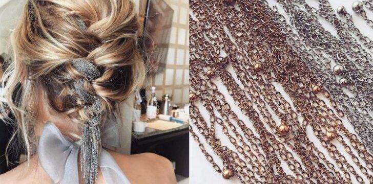 Ryškiausia 2017 metų šukuosenų tendencija - įpinamos metalinės grandinėlės